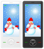 Mobile phone with snowman — Stock Vector