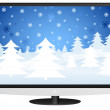 Lcd tv and winter landscape — Imagen vectorial