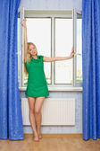 Beautiful Girl Next Window — Stock Photo