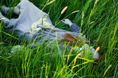 Dead Woman Laying in Grass — Stock Photo