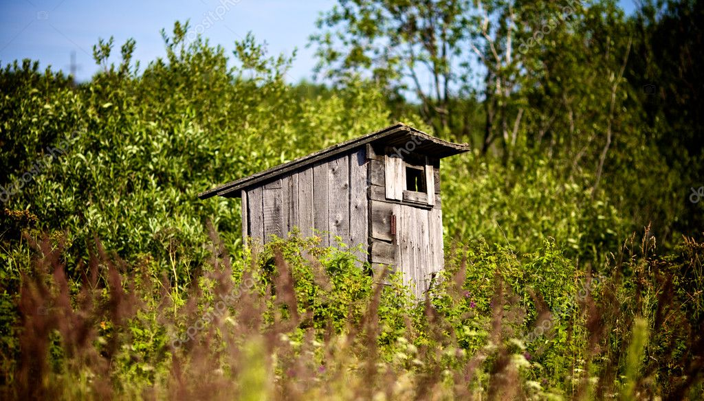 Old country toilet waiting to be used in high grass — Stock Photo #7690764