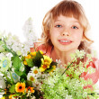 Beautiful girl with  wild flower. - Stockfoto
