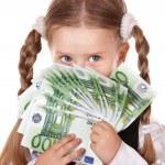 Happy child with money euro. — Stock Photo #7110622