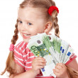 Happy child with money euro. — Stock Photo #7110630