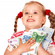 Happy child with money euro. — Stock Photo #7110635