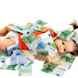 Child with euro money. — Stock fotografie