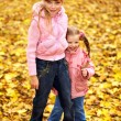 Stockfoto: Kid in autumn orange leaves.