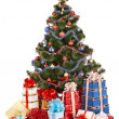 Christmas tree and group gift box. - Stock Photo