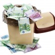 Money euro in bin. Currency collapse. — Stock Photo #7110911