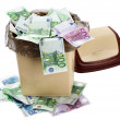 Money euro in bin. Currency collapse. - Stock Photo