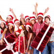 Group in santa hat. - Stock Photo