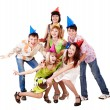 Group of teenagers celebrate birthday. — Stock Photo