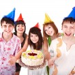 Group eat cake. - Stock Photo