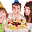 Group of happy young with cake. — Stock Photo #7111138