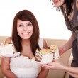 Group of happy girl with cake. — Stock Photo #7111150