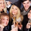 Group young drinking champagne. — 图库照片