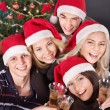 Group young in santa hat. — Stock Photo #7111187
