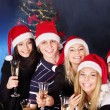 Group young in santa hat. — Stock Photo #7111189