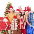 Group young in santa hat. — Stock Photo #7111215