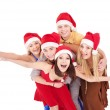 Group young in santa hat . — Stock Photo #7111229