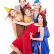 Group of young in party hat. — Foto Stock #7111231