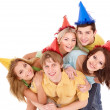Group of young in party hat. — Zdjęcie stockowe #7111260