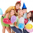 Group of young in party hat. — Zdjęcie stockowe #7111273