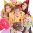 Group holding cake. — Stockfoto