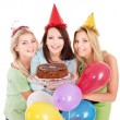 Group holding cake. — Fotografia Stock  #7111277