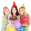 Group holding cake. — Stock Photo