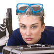 Royalty-Free Stock Photo: Girl in goggles and gun.
