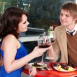 Stock Photo: Couple on date in restaurant.