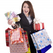 Girl with money, gift, box. - Stock Photo