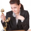 Happy businesswoman with golden phone. — Stock Photo