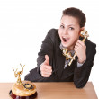 Happy businesswoman talking phone. — Stock Photo