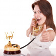 Stock Photo: Young woman talking by phone.