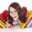 Girl in glasses with stack book . — Stock Photo #7111639