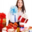 Girl with group of color gift box. - Stock Photo