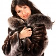 Woman in fur coat. — Stock Photo