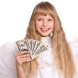Girl in angel costume with dollar money. — Stock Photo