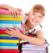 School child holding stack of books. — Stock Photo #7112149