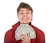 Intelligente uomo forte con i soldi. — Foto Stock