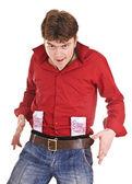 Mannen i rött med pengar. — Stockfoto