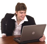Empresario con el portátil en la oficina. — Foto de Stock