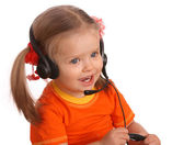 Portrait of child with headset. — Stock Photo