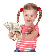 Happy child with money dollar. — Stockfoto