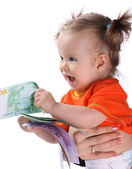 Child with dollar money — Stock Photo