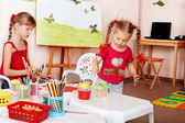 Group of children with colour pencil in play room. — Stock Photo