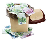 Money euro in bin. Currency collapse. — Stock Photo