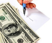 Money and document in female hand. — Stock Photo